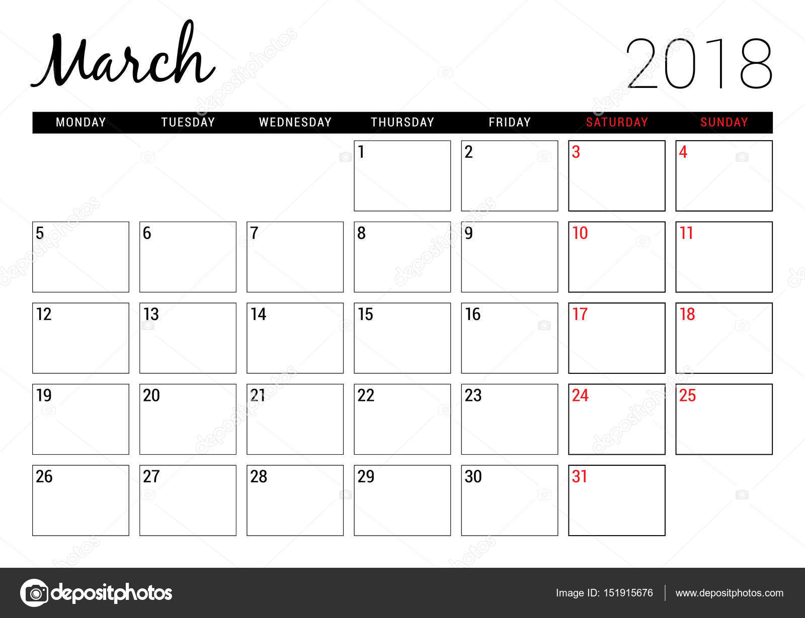 march 2018 printable calendar planner design template week starts on monday stationery design