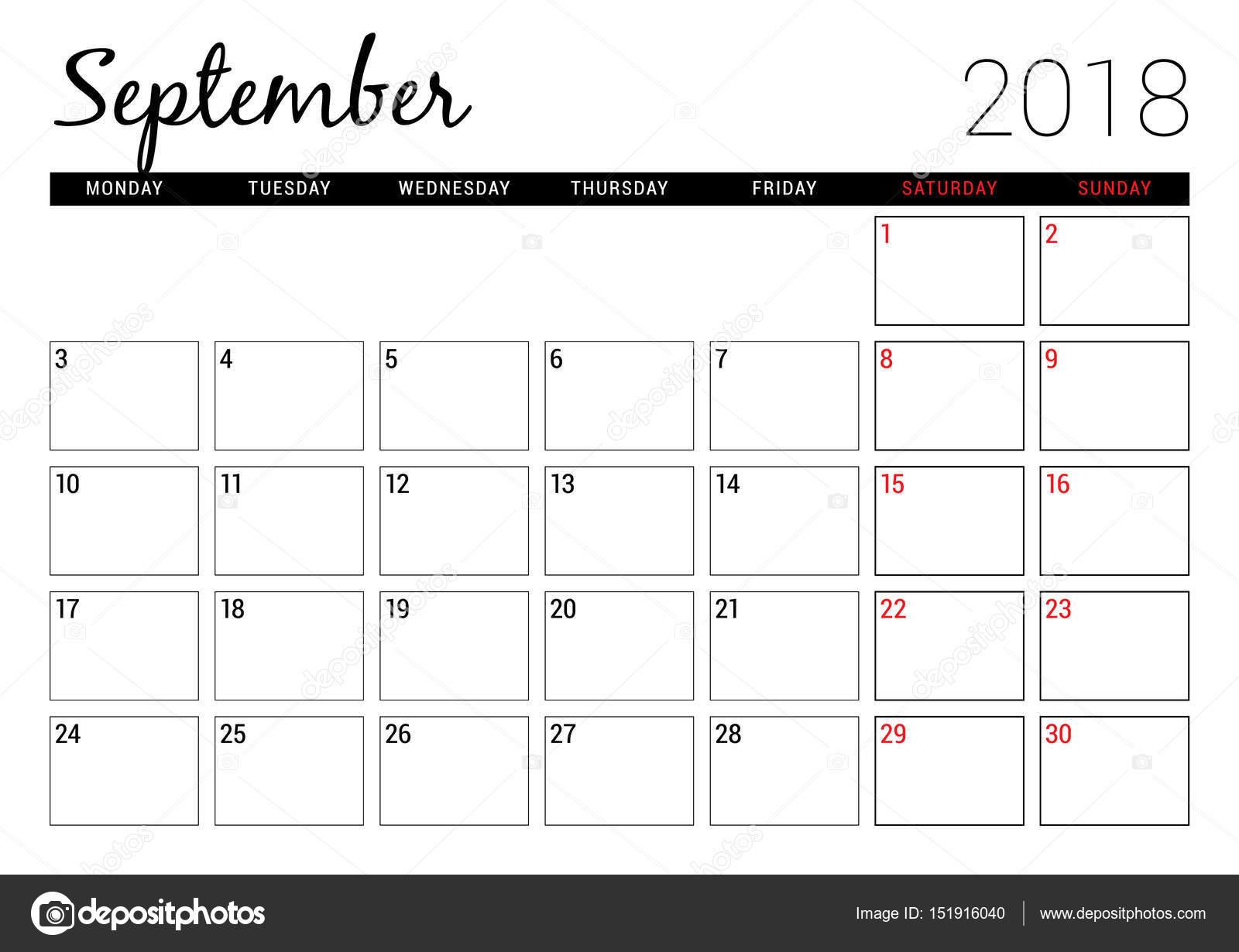 Calendar Planner September : September printable calendar planner design template
