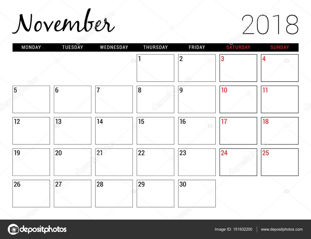 photograph relating to Printable Calendar November identify November 2018. Printable calendar planner design and style template