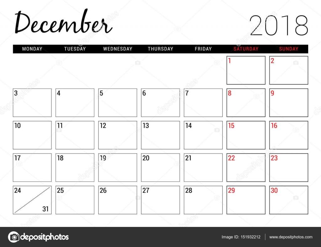 Calendario Diciembre 2018 Para Imprimir.Diciembre De 2018 Plantilla De Diseno De Calendario Para