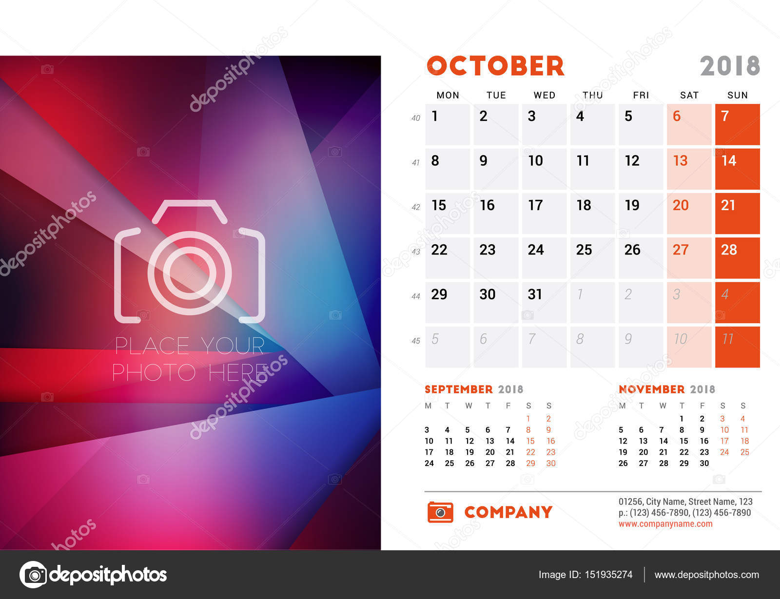October 2018 Desk Calendar Design Template With Colorful Abstract