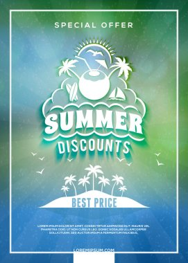 Summer sale flyer or banner. Summer discount label. Typography retro style label. Vector design template with colorful abstract background