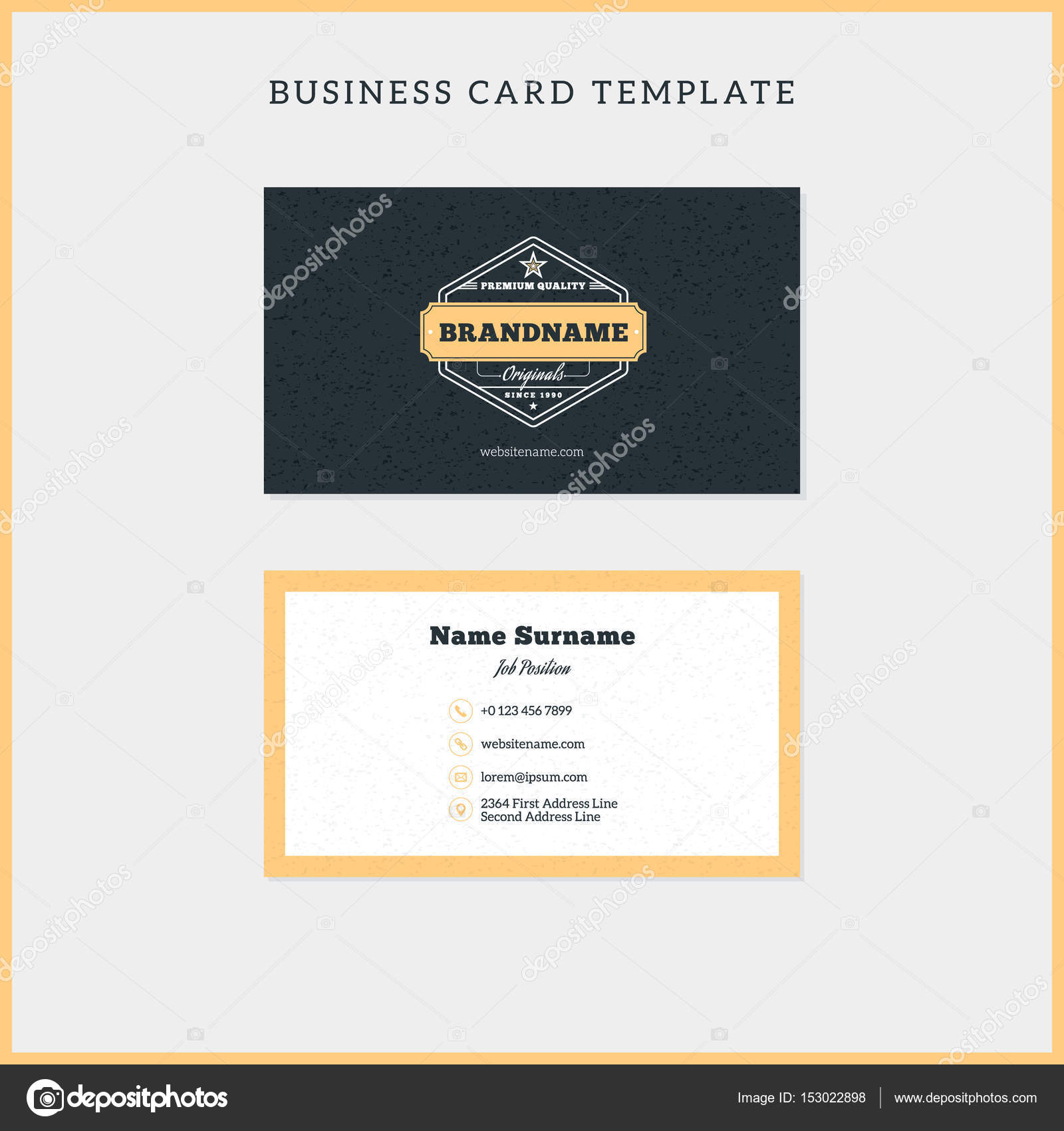 Double-sided vintage business card template with retro typographic ...