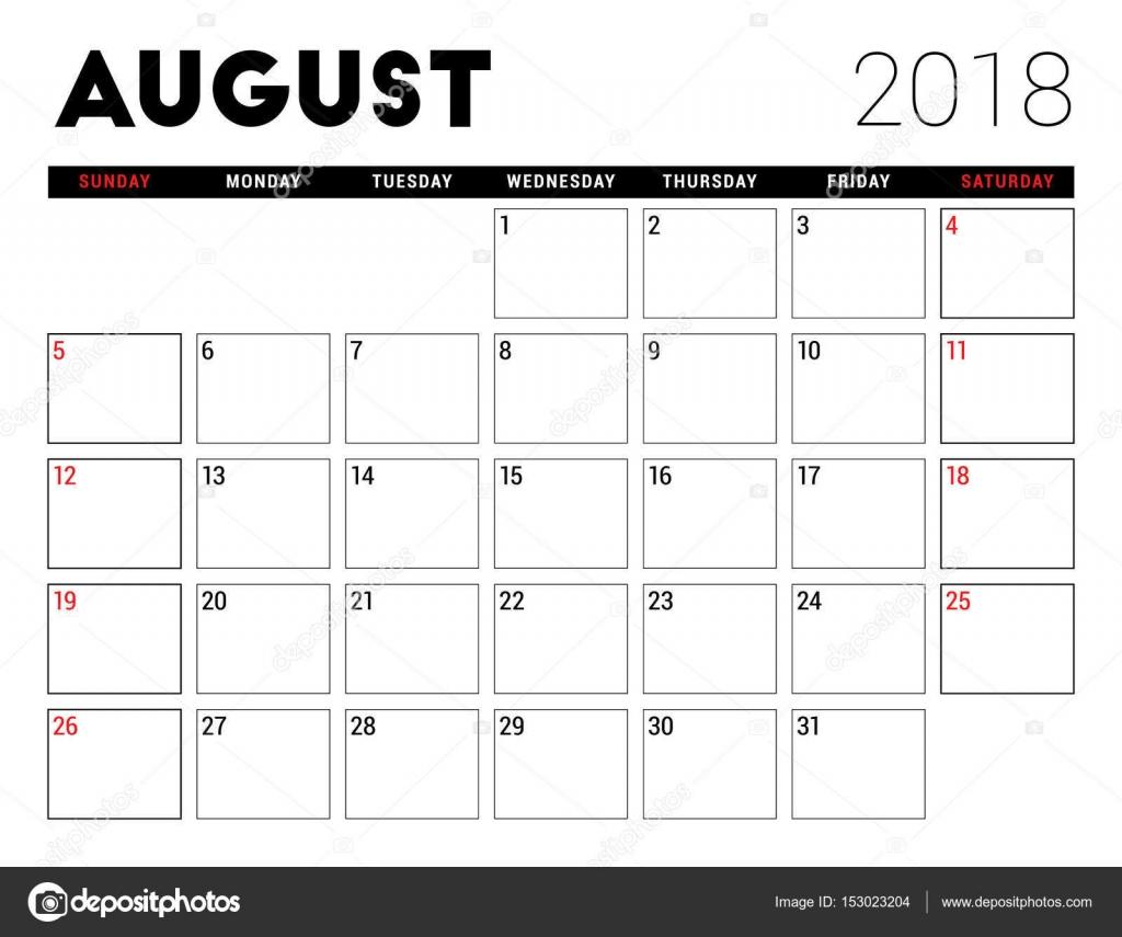 228aaae48e Nyomtatható naptár augusztus 2018. Tervező tervezősablon. Hét kezdőnapja a  hétfő. Levélpapír — Stock