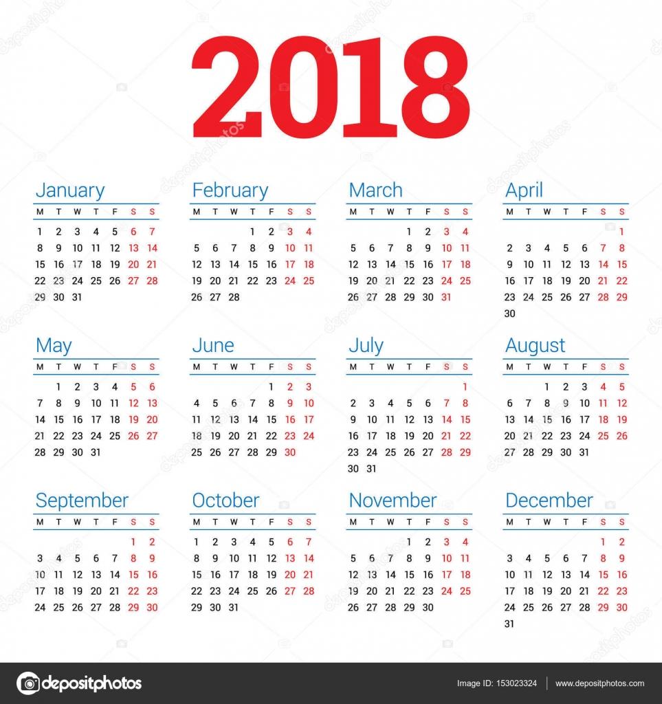 Kalender für das Jahr 2018 Jahr auf weißem Hintergrund. Woche ab ...