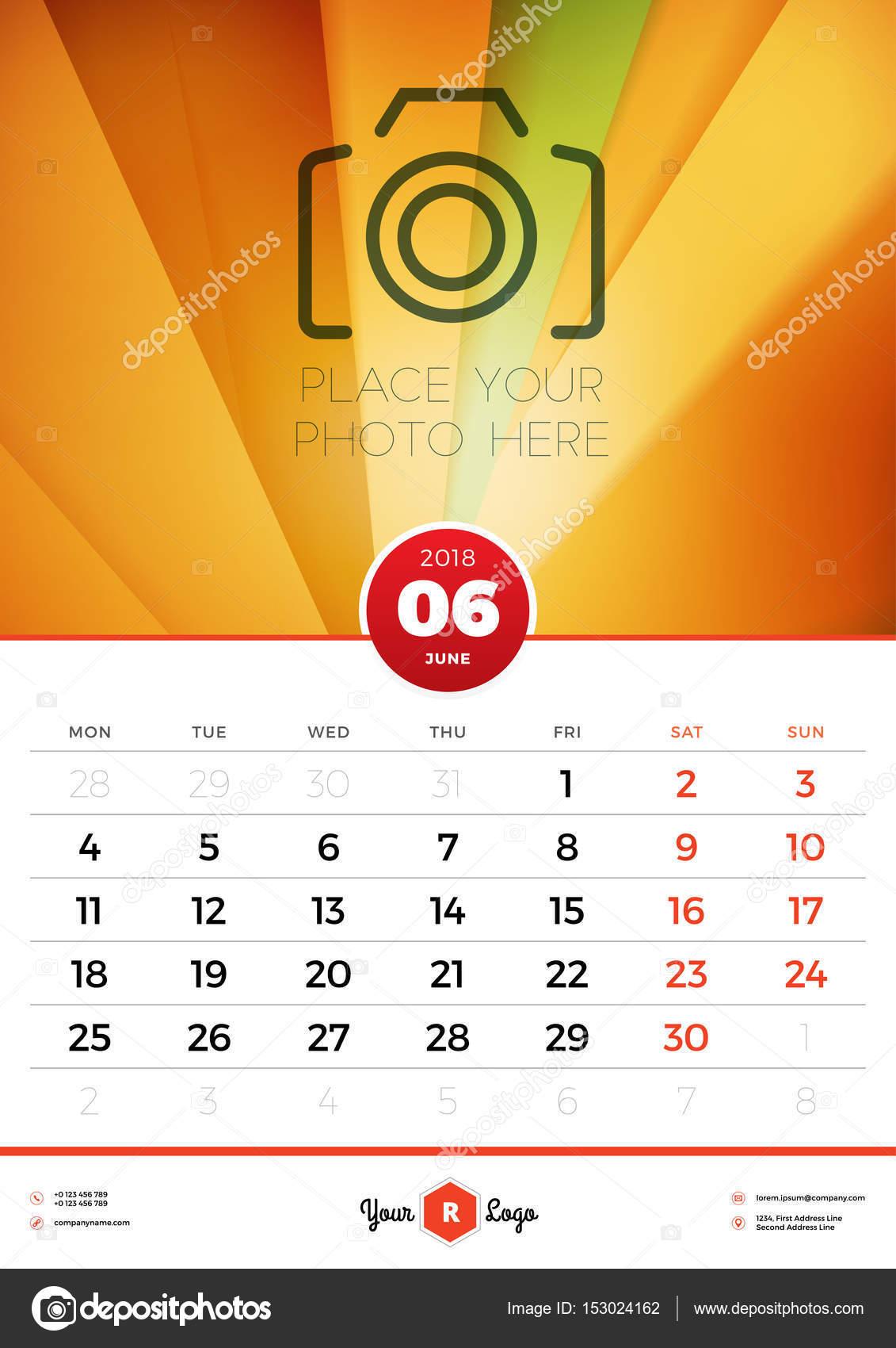 Wall Calendar Template For 2018 Year June Vector Design Template