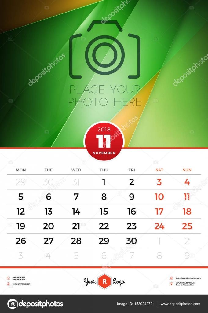 Wall Calendar Template For 2018 Year November Vector Design