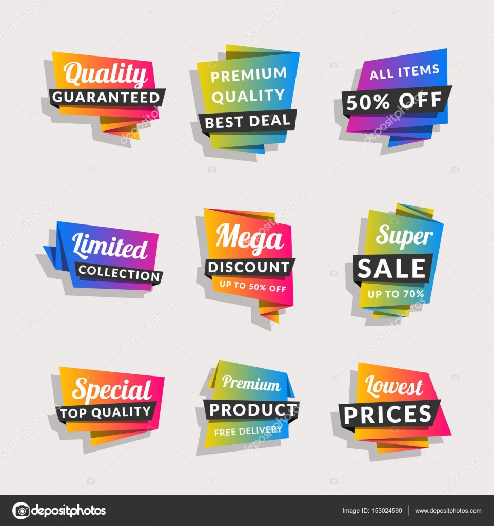 Set of sale banners  Shopping tags  Discount and promotional