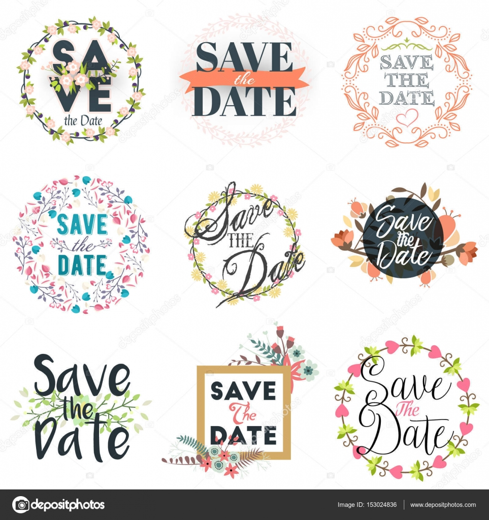 Save the date vector design floral elements for wedding invitations set of badges and labels for Save the date vector