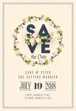 Save the date. Wedding invitation card design template. Stationery design. Vector illustration