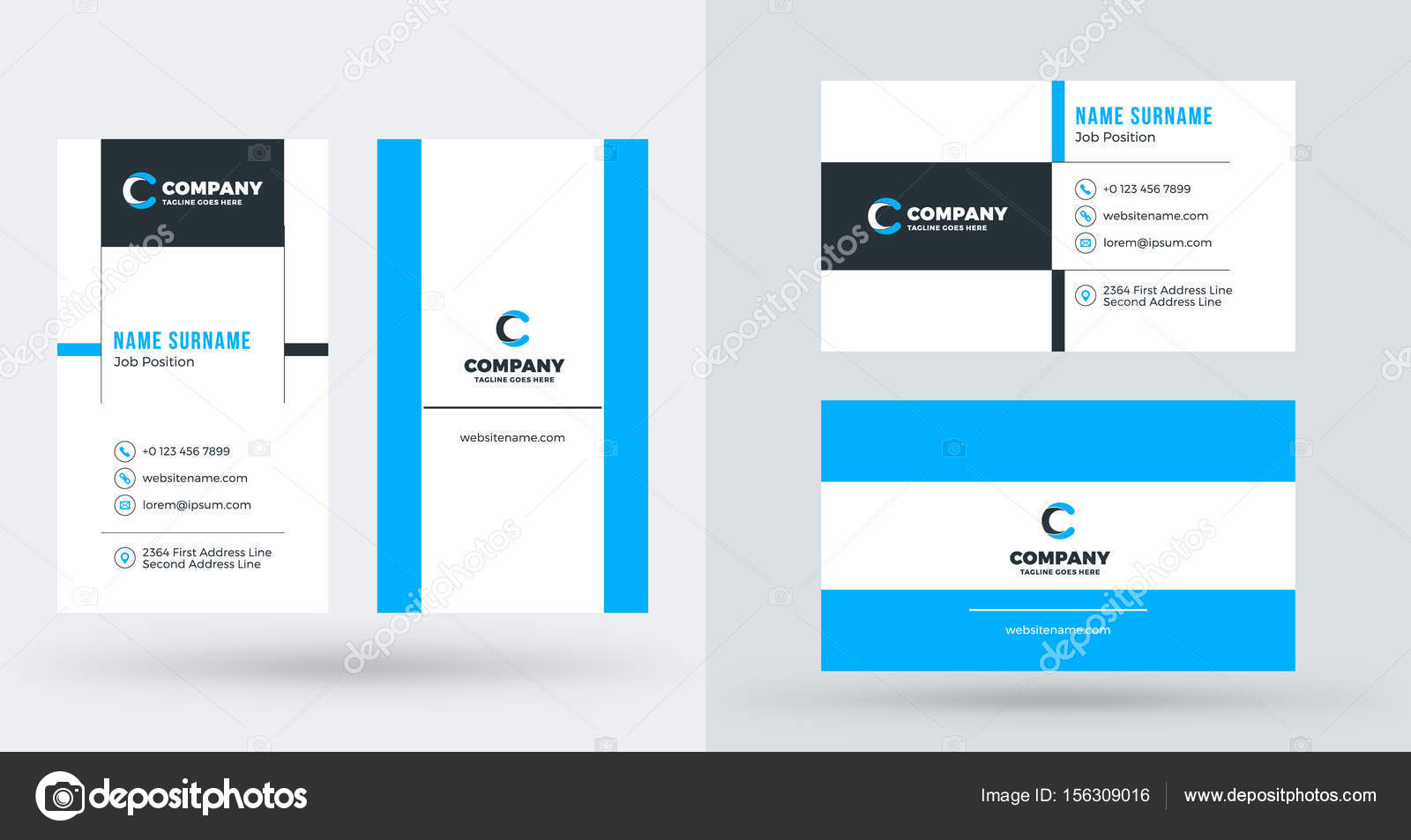 Double sided creative business card template portrait and landscape double sided creative business card template portrait and landscape orientation horizontal and vertical wajeb Choice Image