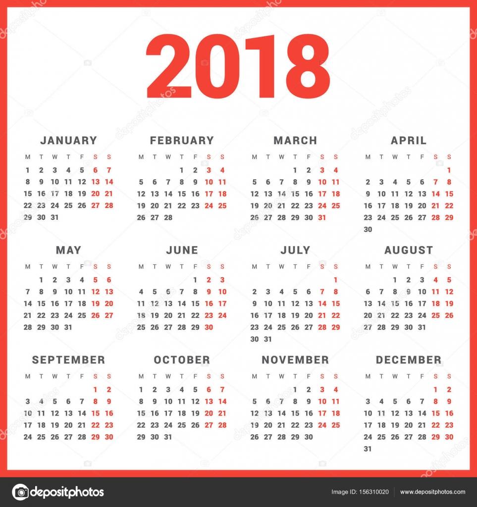 Semaine 45 Calendrier.Calendrier Pour L Annee 2018 Sur Fond Blanc La Semaine