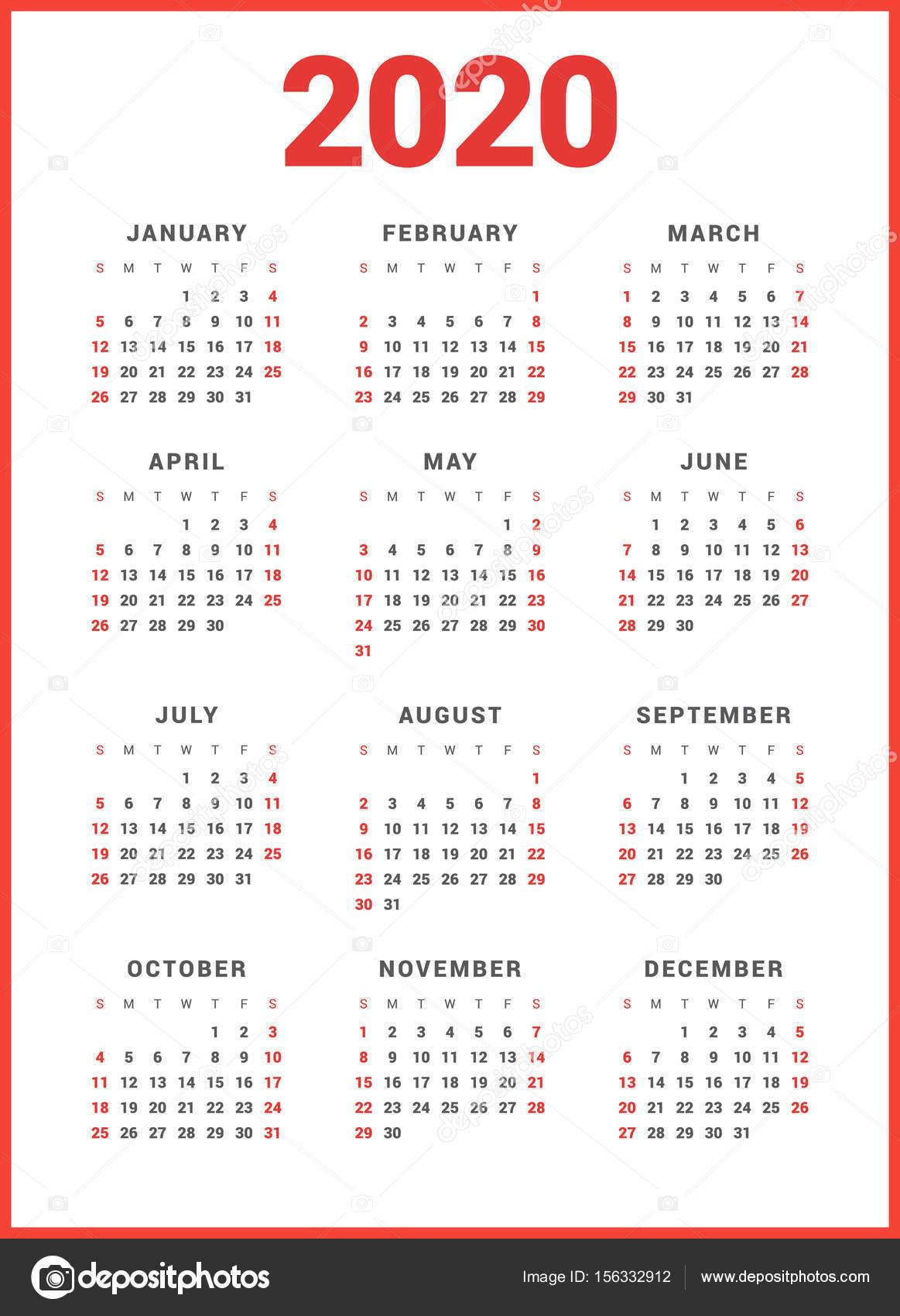 Calendario Por Semanas 2020.Calendario Para El Ano 2020 Sobre Fondo Blanco Comienza La Semana