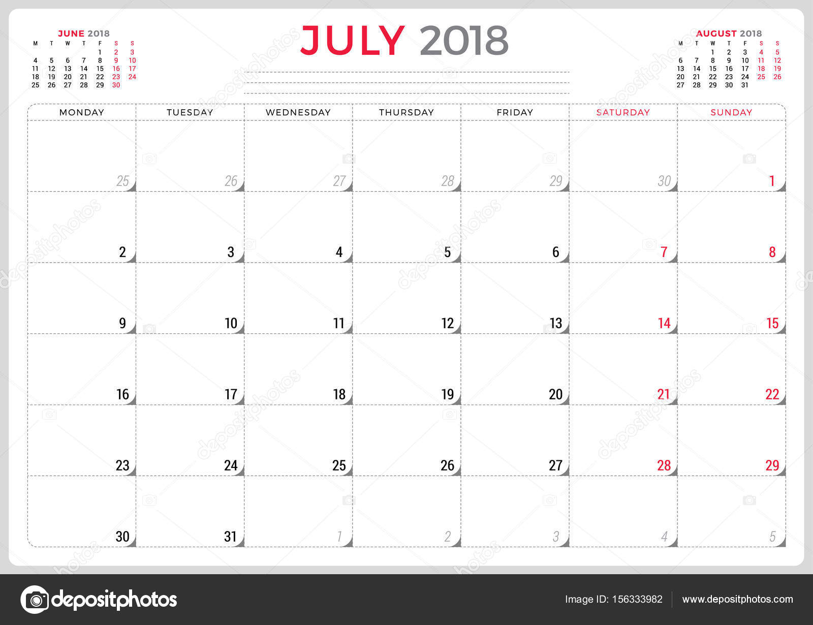 july 2018 calendar planner design template week starts on monday stationery design