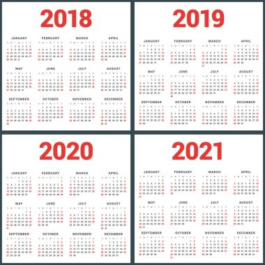 Set of calendars for 2018, 2019, 2020, 2021 years. Week Starts Sunday. Simple Vector Template. Stationery Design Template