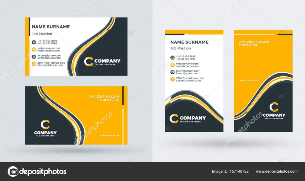 Double sided creative business card template portrait and landscape double sided creative business card template portrait and landscape orientation horizontal and vertical fbccfo Choice Image
