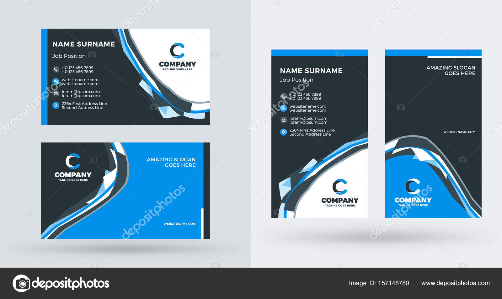 Double sided creative business card template portrait and landscape double sided creative business card template portrait and landscape orientation horizontal and vertical accmission Gallery