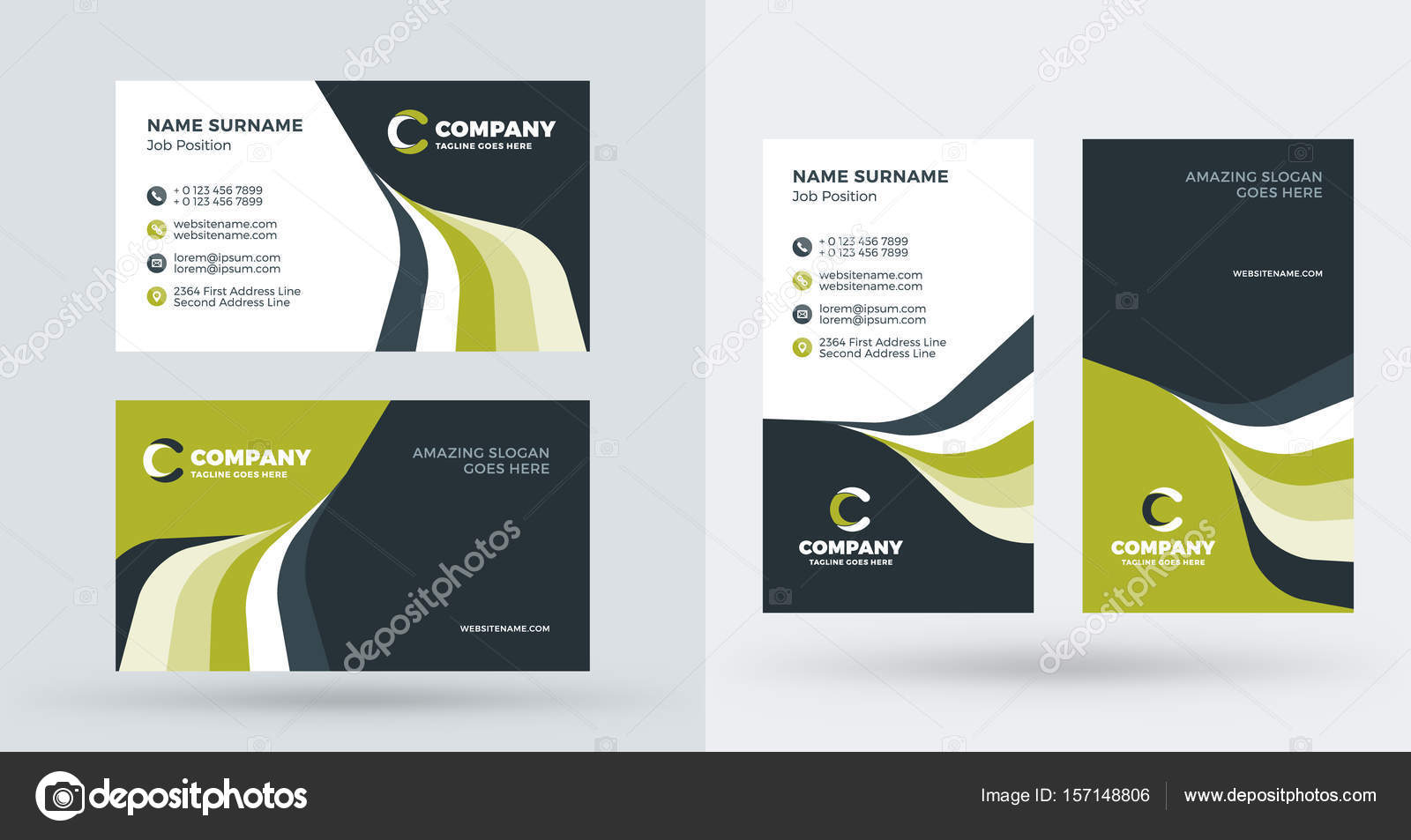 double sided creative business card template portrait and landscape
