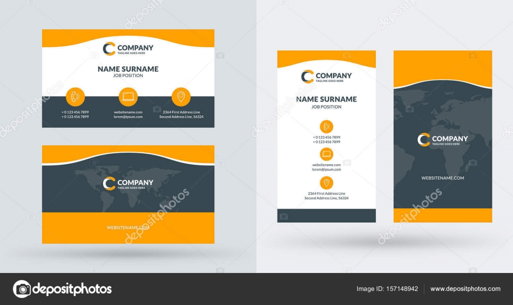 Vector 157148942 — Creative Layout And Orientation Template © Landscape Stock Horizontal Vertical Business Antartstock Double-sided Portrait Illustration Card