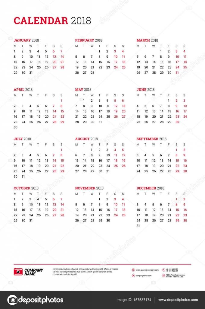 Calendar Poster Size : Vector calendar poster a size for year week starts