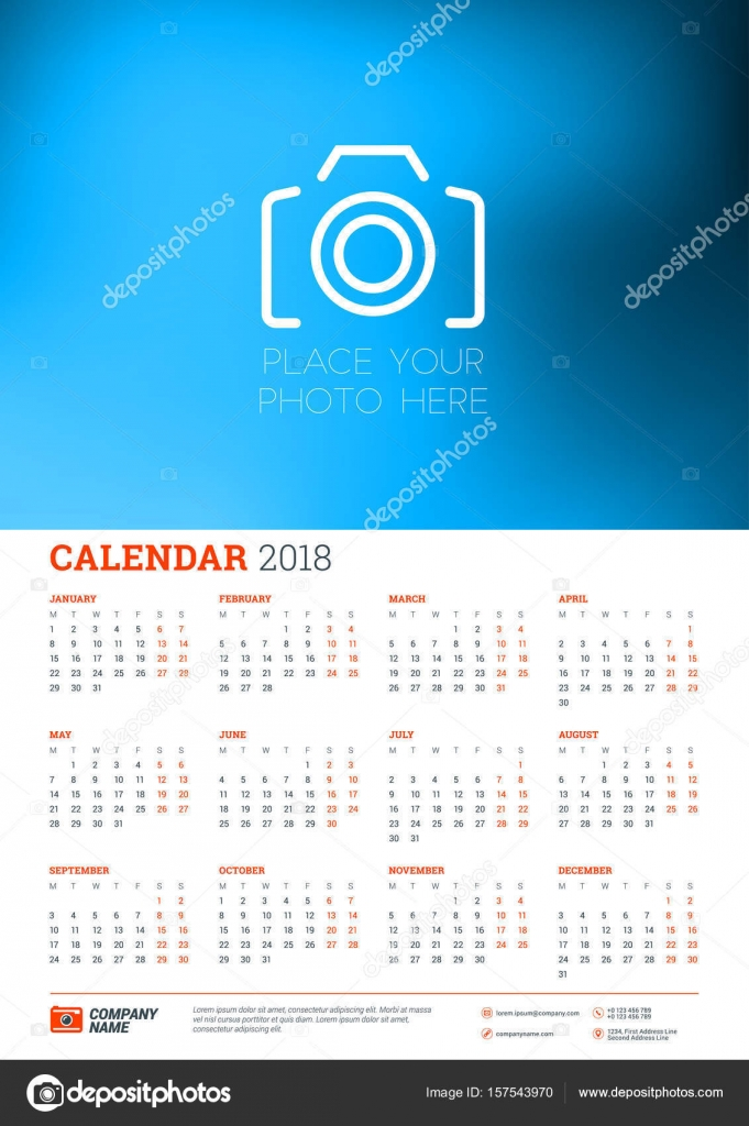 Calendar Poster Size : 년 달력 포스터 a 크기 벡터 주는 월요일에 시작합니다 사진에 대 한 장소를 가진 편지지
