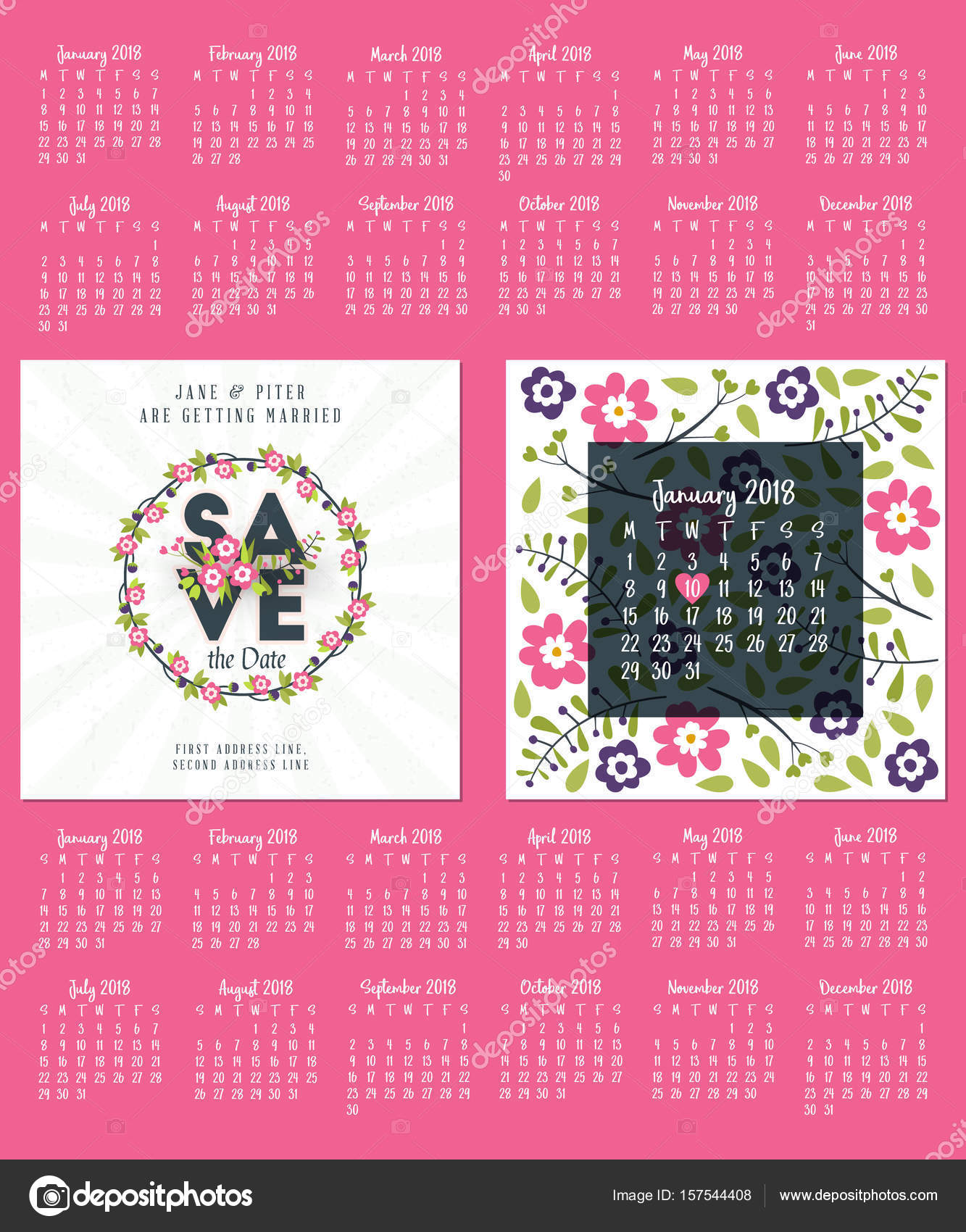 Save The Date Wedding Invitation Double Sided Card Design Template