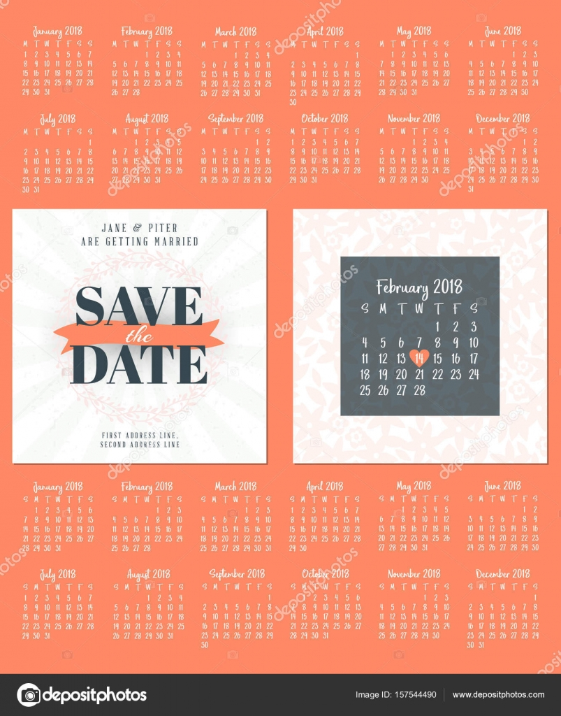 wedding invitation double sided card design template calendar for 2018