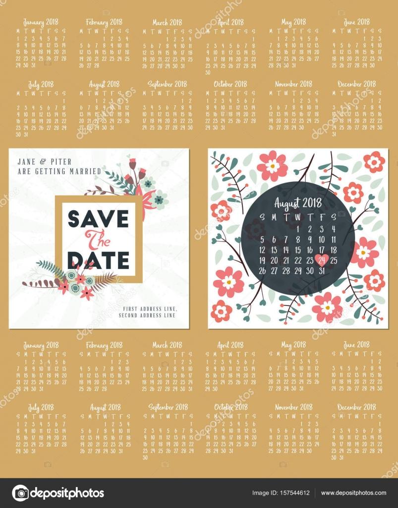 Hochzeit Einladung Doppelseitige Karte Design Vorlage. Kalender Für Das