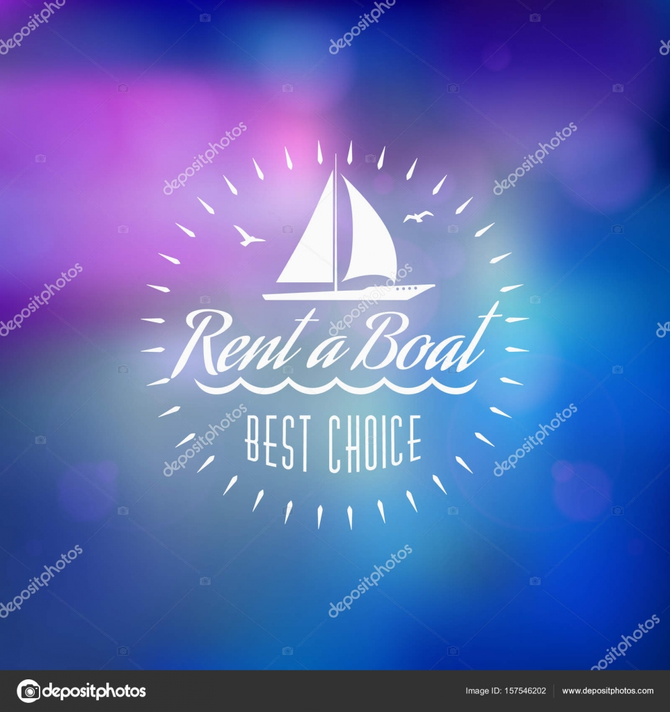 Boat rental summer badge  Typographic retro style label with