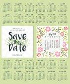 Uložte data. Svatební Pozvánka-oboustranná karta šablony návrhu. Kalendář na rok 2018. Sada 12 měsíců. Týden začíná nedělí nebo pondělím. Šablonu návrhu. Vektorové ilustrace
