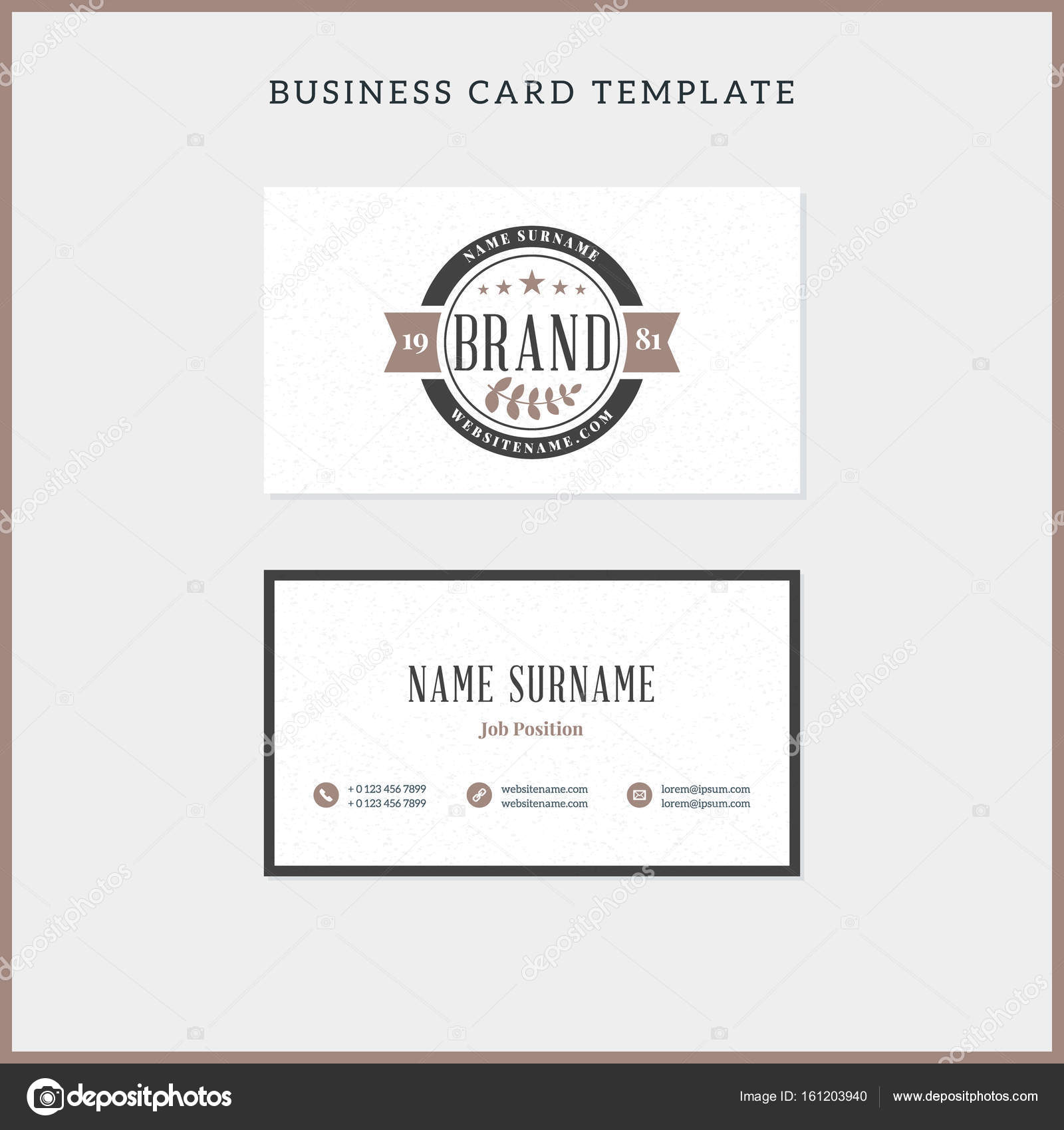 Double sided vintage business card template with retro typograph double sided vintage business card template with retro typograph stock vector flashek Choice Image