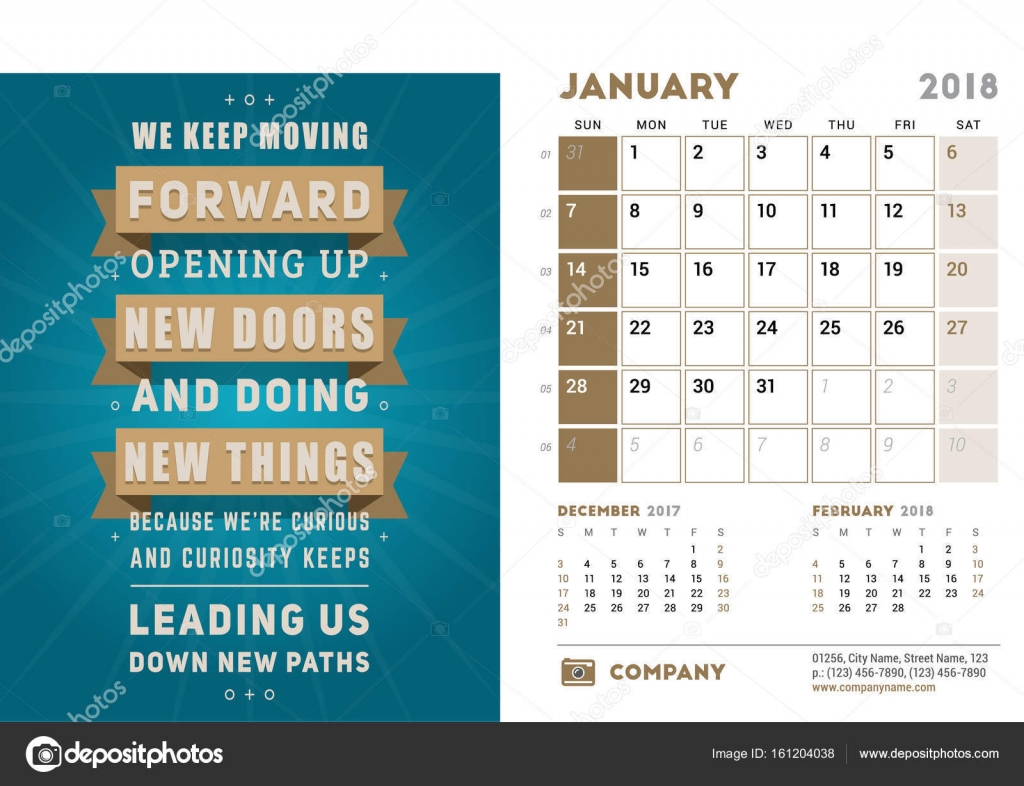 Desk calendar template for 2018 year january design template with desk calendar template for 2018 year january design template with motivational quote 3 saigontimesfo
