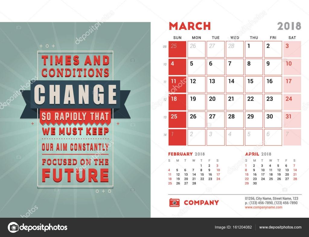 Diseño Calendario De Escritorio Plantilla De Calendario De