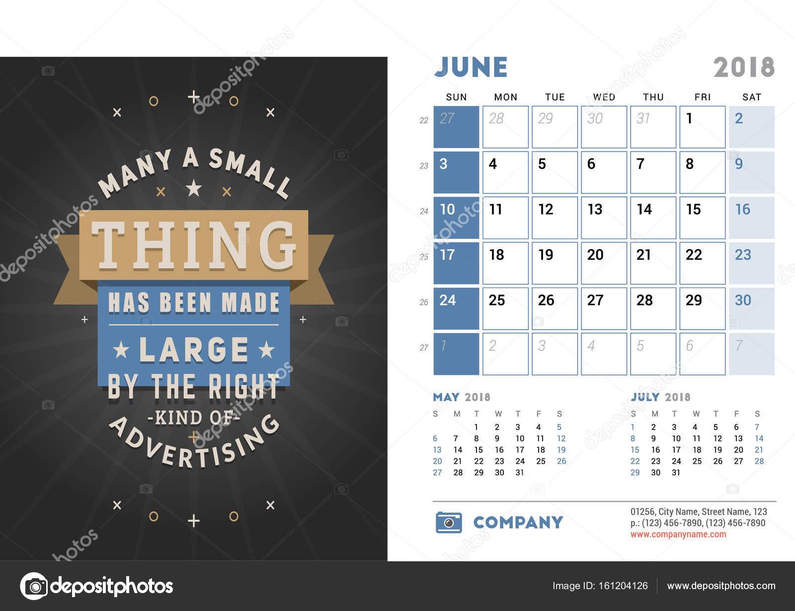 Calendar Design Quote : Desk calendar template for year june design template with