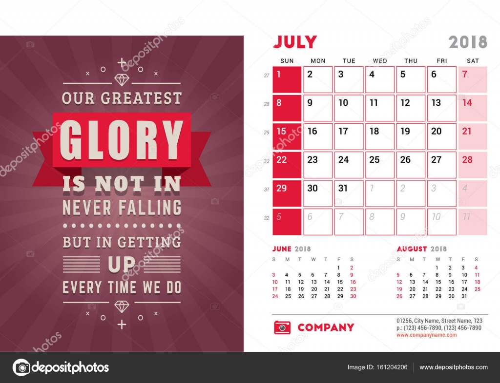 Desk Calendar Template For 2018 Year July Design Template With