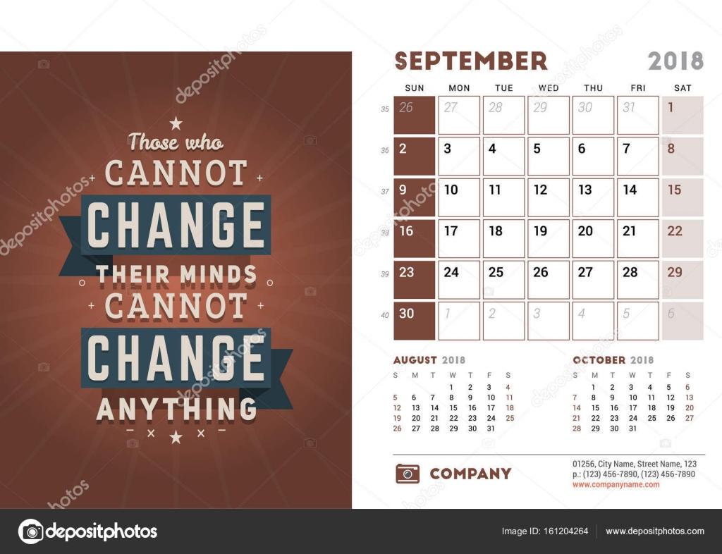 Mod le de calendrier de bureau pour l ann e 2018 septembre mod le de conception avec la - Calendrier sur le bureau ...