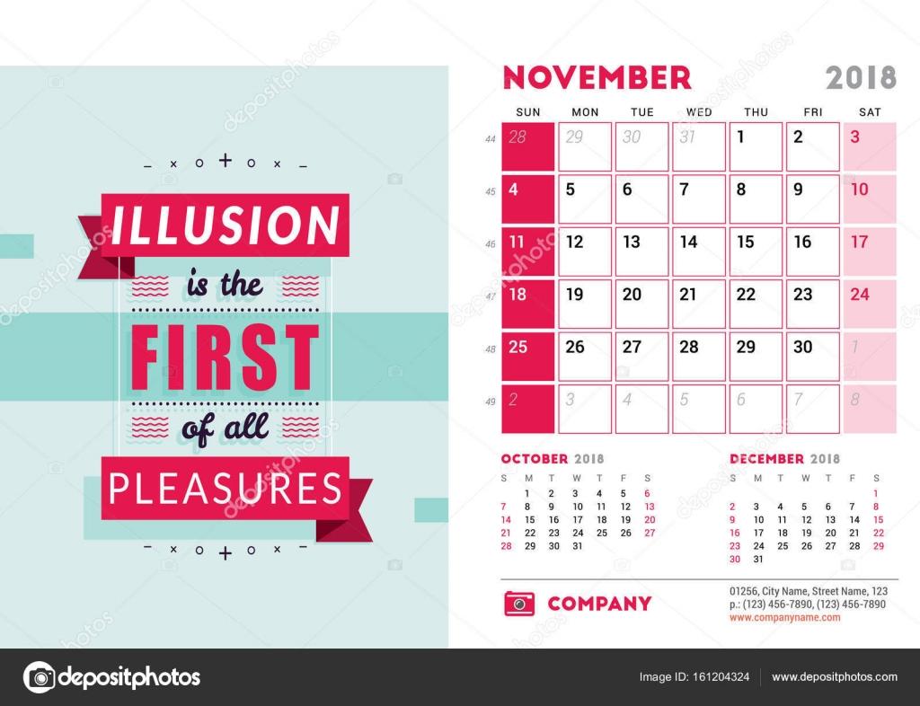 Calendar Design Quote : Desk calendar template for year november design template