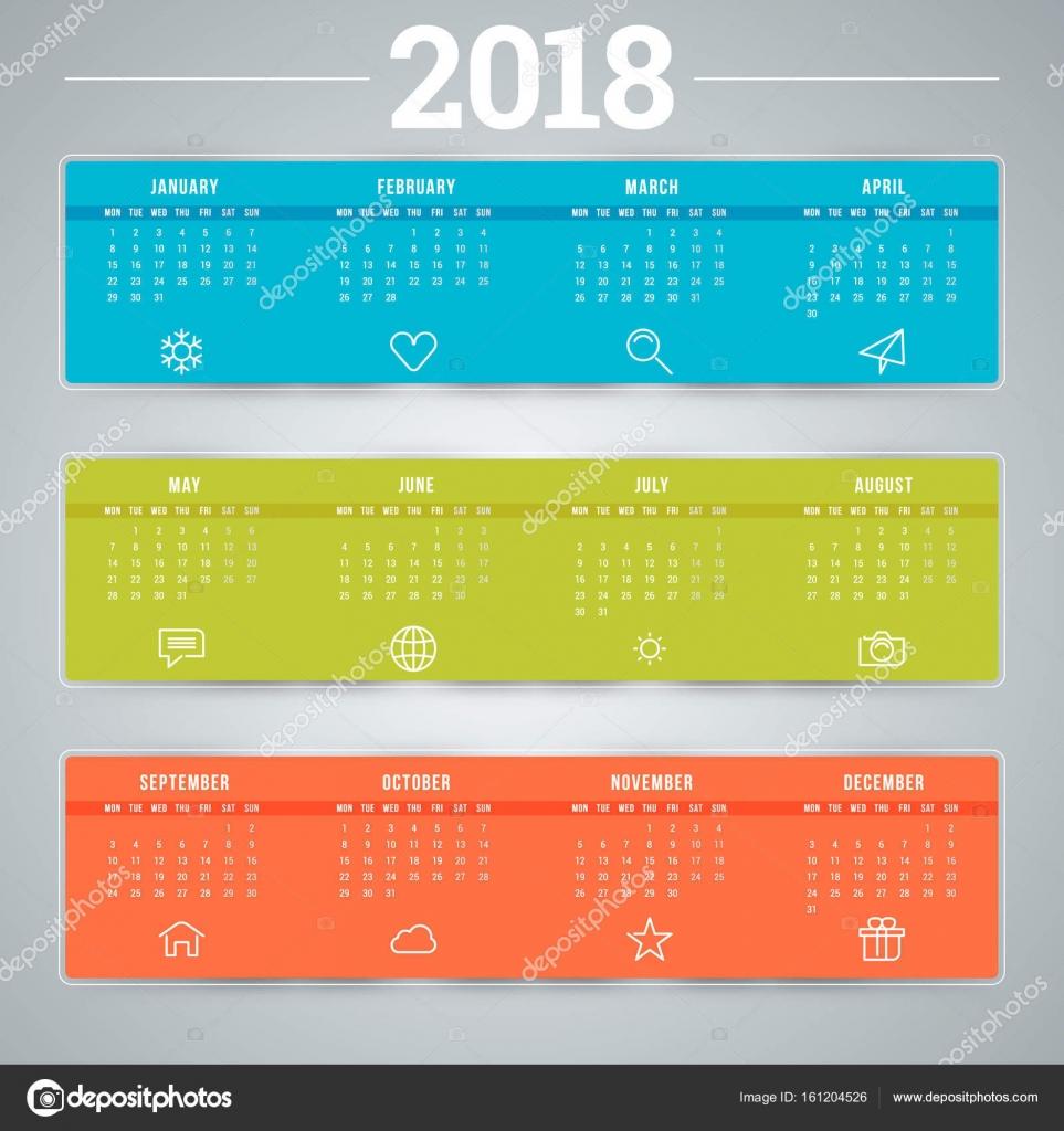 Calendario para el año 2018. Plantilla de diseño vectorial. La ...
