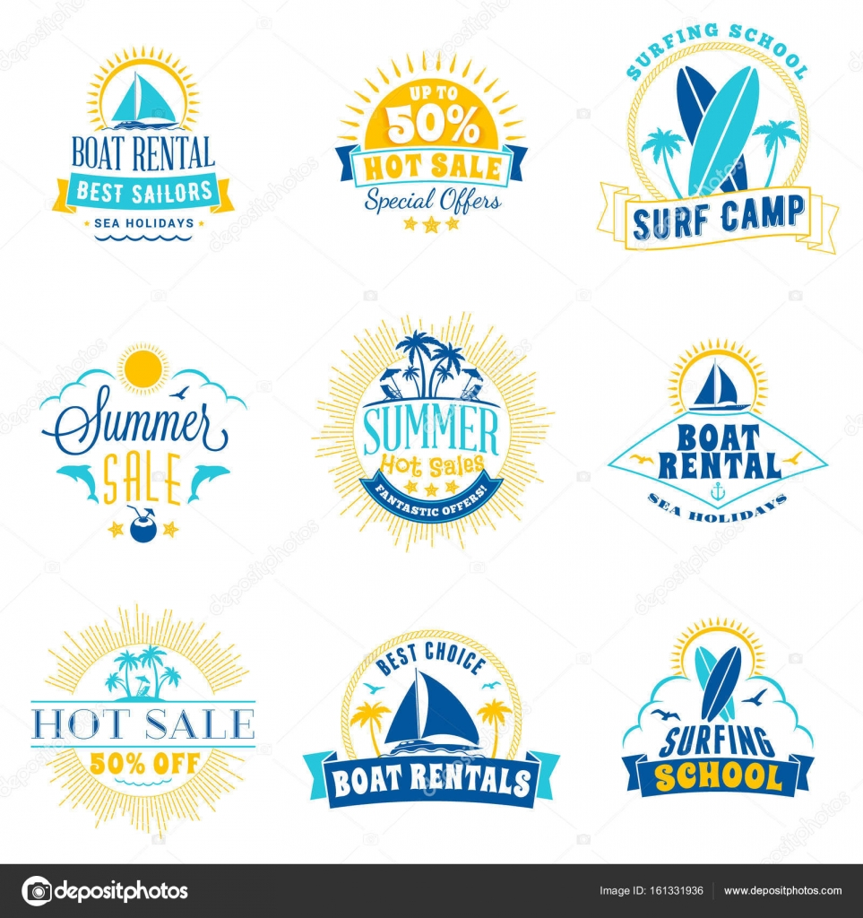 1d7b1b690 Set of summer sale promotional emblem design. Typographic retro style summer  advertising badges for banner or poster. Blue and yellow color theme.