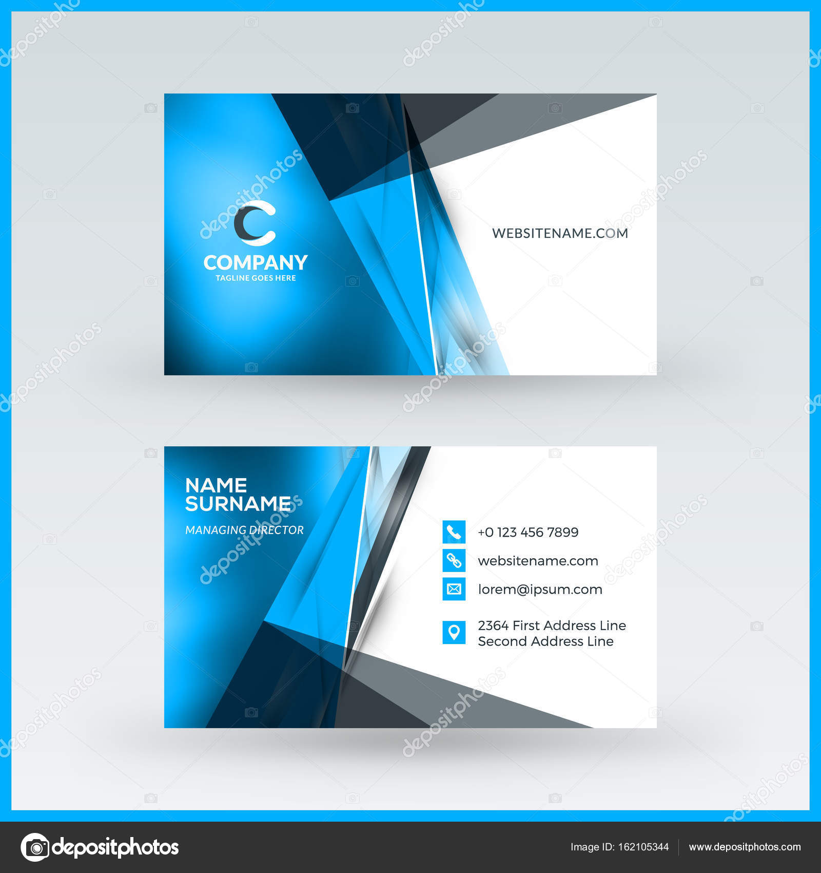 Double sided horizontal business card template vector mockup double sided horizontal business card template vector mockup illustration stationery design stock colourmoves