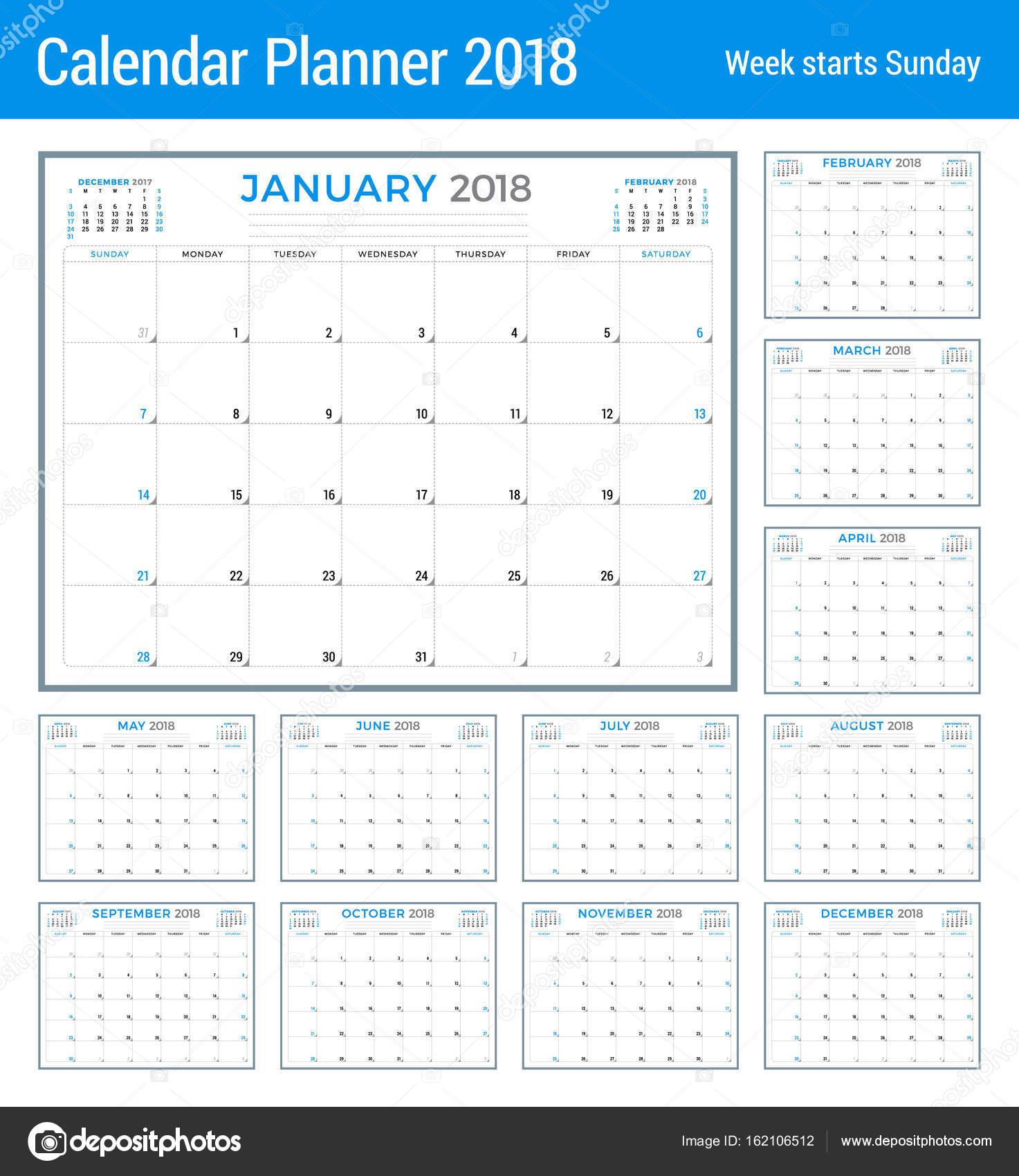 Calendar Planner Nodejs : 年的日历日程备忘录。矢量设计模板。周从星期日开始。文具设计。组的 个月 — 图库矢量图像