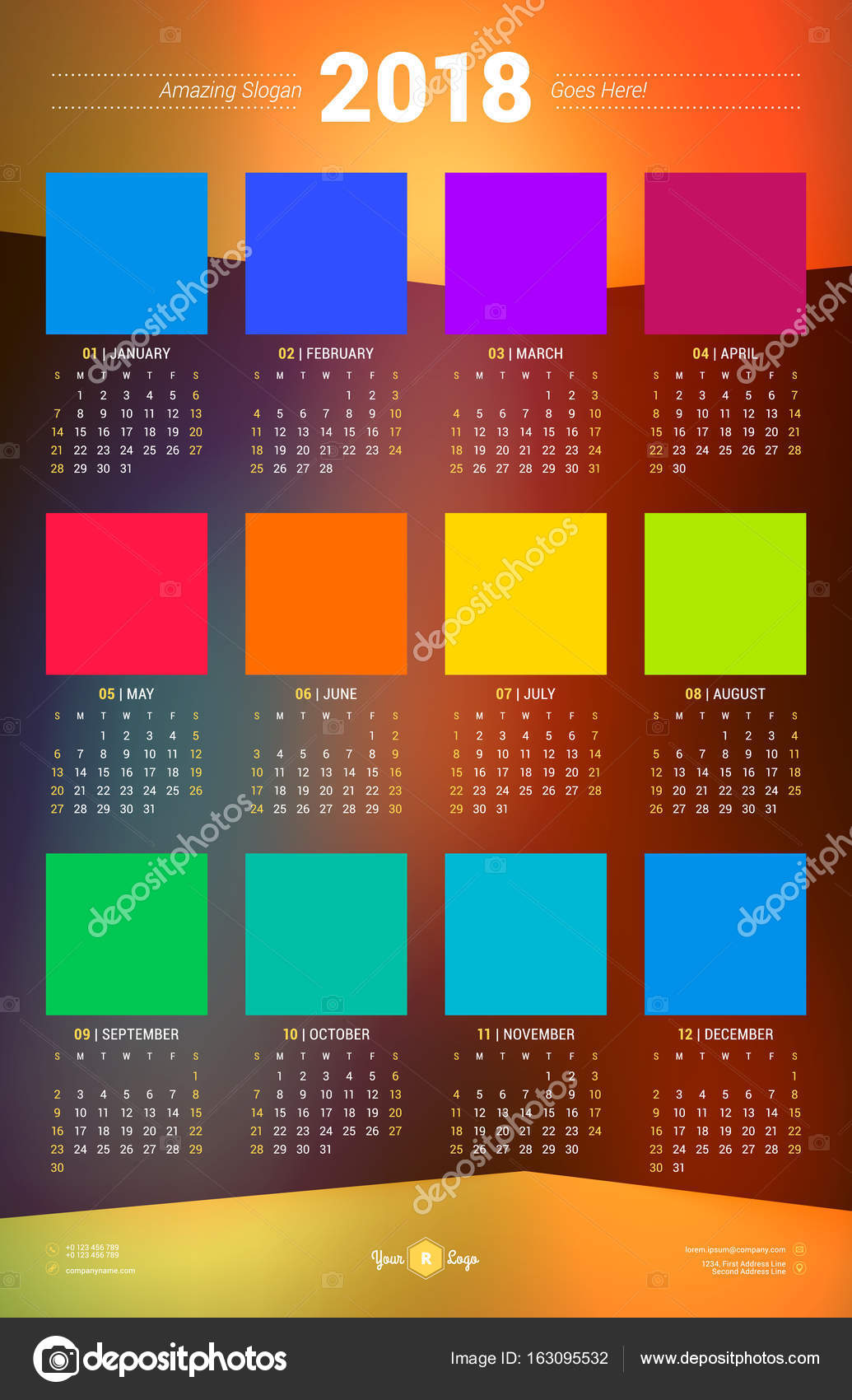 Calendar Poster Template For 2018 Year Week Starts Sunday