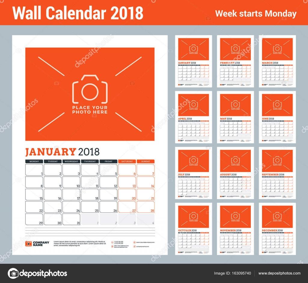 Vektor-Planer Kalendervorlage für 2018 Jahr. Satz von 12 Monaten ...