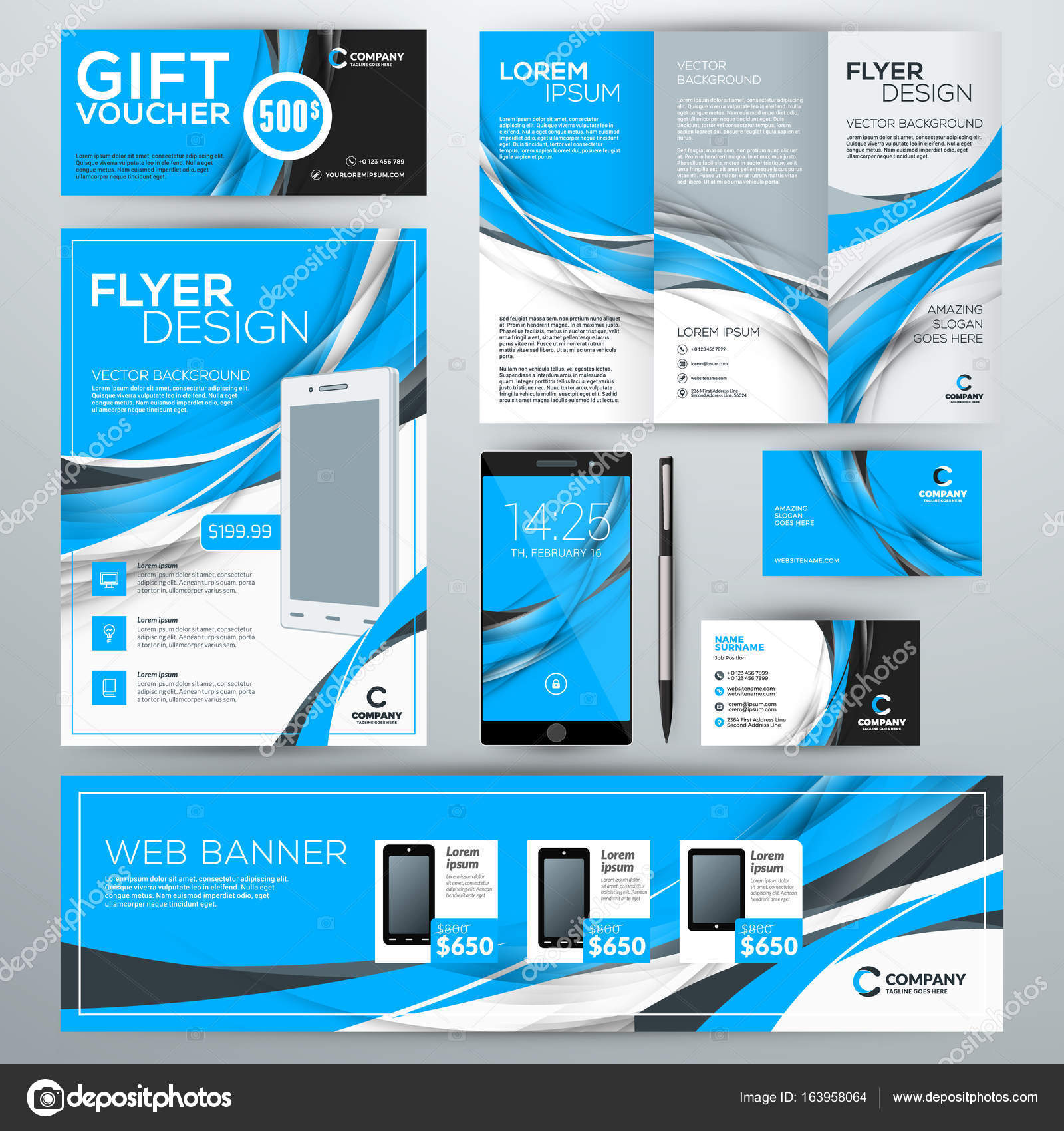 Set of stationery design templates. Corporate identity with ...