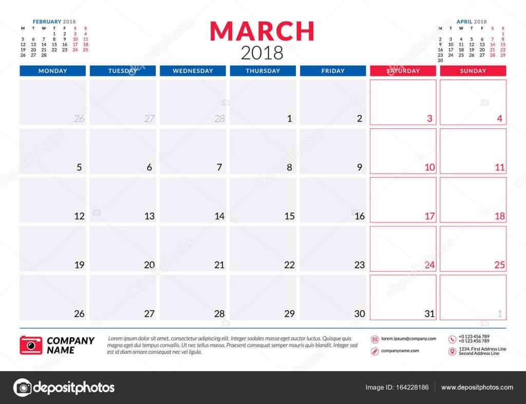 Calendar March 2018 Design : March calendar planner design template week starts