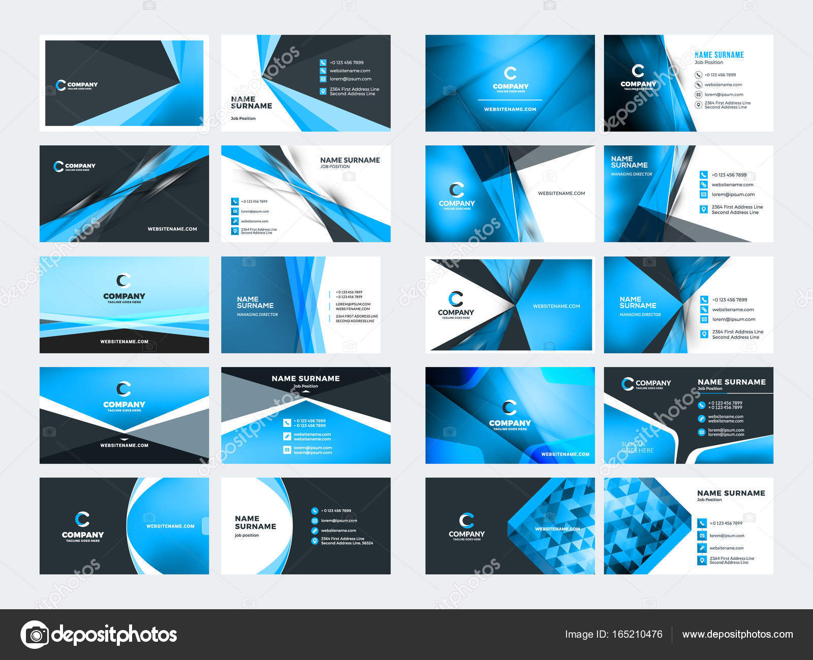 Double sided business card templates. Blue color theme. Stationery ...