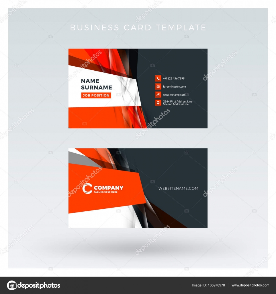 Creative and clean double-sided business card vector template with ...