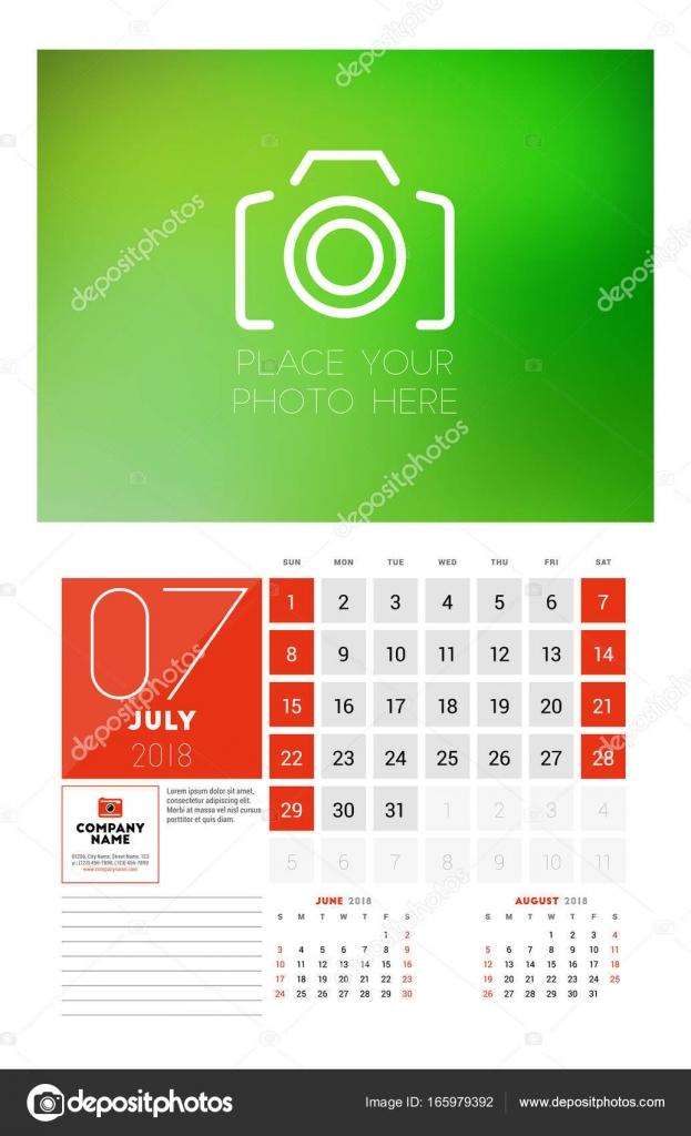 Wandschablone Kalender für das Jahr 2018. Juli. Vector ...