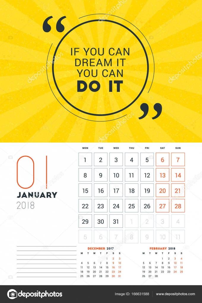 Wall Calendar Template For January 2018 Vector Design Print