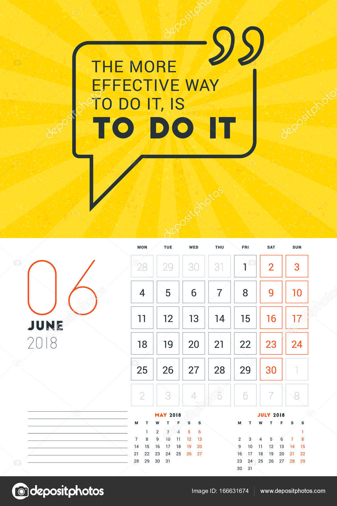 Wall Calendar Template For June 2018 Vector Design Print Template